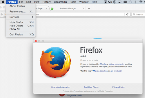 Check Firefox version on Mac